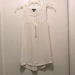 Small white tank with quarter zipper from Express